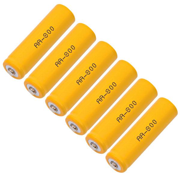 AA 800mAh NiCD 6 Solar Yard Light Batteries Rechargeable