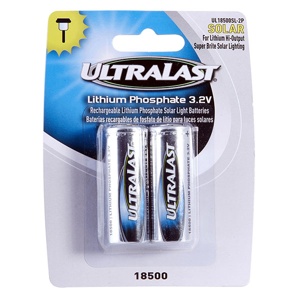 Ultralast 18500 Outdoor Solar Lighting batteries 2PK