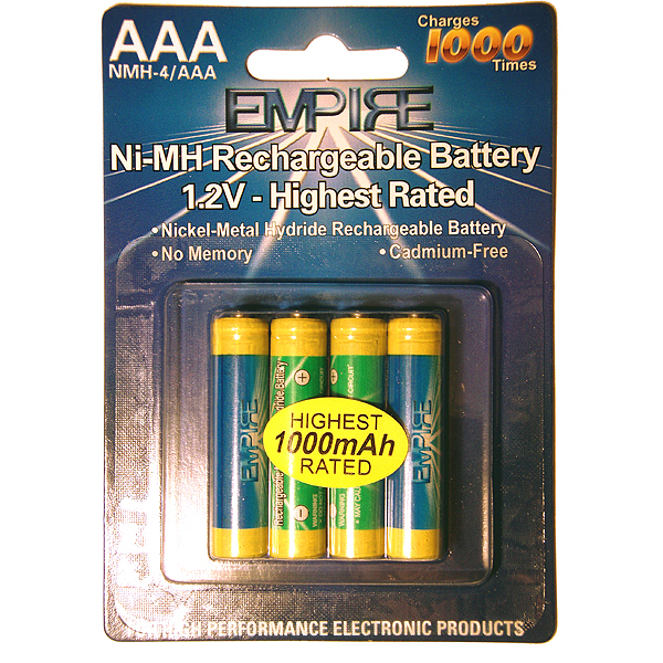 Aaa Rechargeable 1000mah 12v 4 Batteries Nmh 4aaa Rechargeables