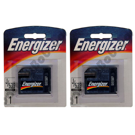 J Size Battery Energizer 539BP 6 Volt.  Pack of Two Batteries Size J