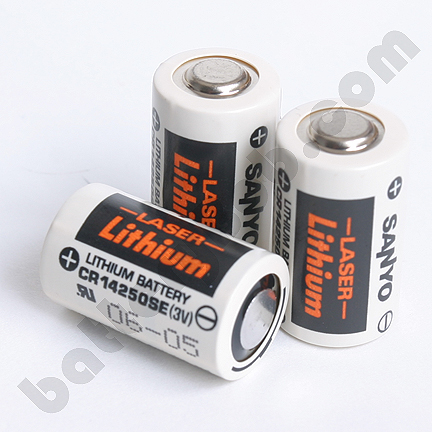 CR14250SE - 3 Volt 850 mAh Cylindrical Sanyo Cell. OEM in bag. Single battery.  COMP-7. BR1/2A