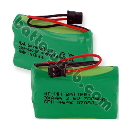 Cordless Phone Replacement Battery 3.6 volt 700 mAh NiMH. 1 year factory warranty. CPH-464B