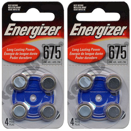 ENERGIZER AC675E-4 HEARING AID - BLUE - 2 Packs of 4 Batteries