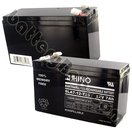 Rhino Toyo or Genesis 12V 7Ah Sealed Lead Acid Rechargeable Battery F2 .25 SLA7-12/T25