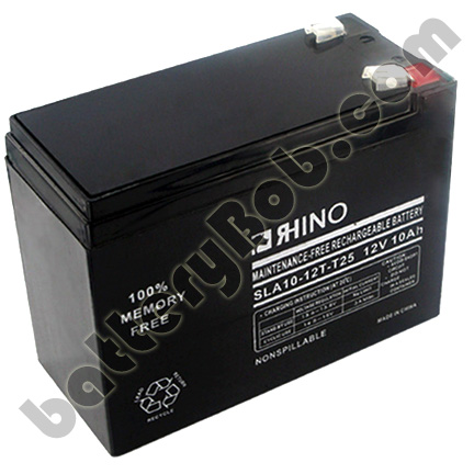 A Rhino SLA10-12/T25 Sealed Lead Acid Battery With Faston F2 .25