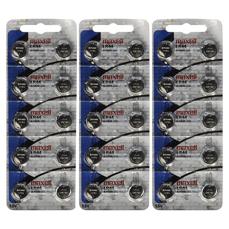 L1154 same as LR44 Maxell - 3 Packs of 10 Batteries + Two  Free LR44