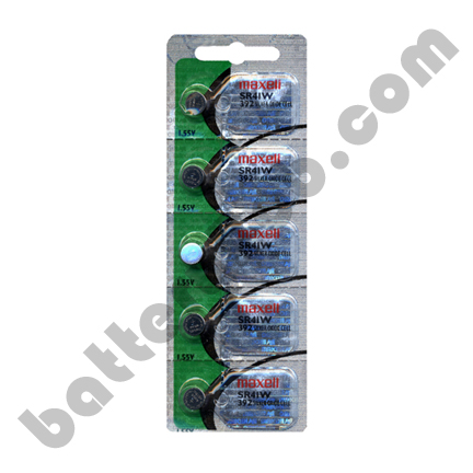 MAXELL 392 SR41W - 1 Pack of 5 Batteries.   AG3 type